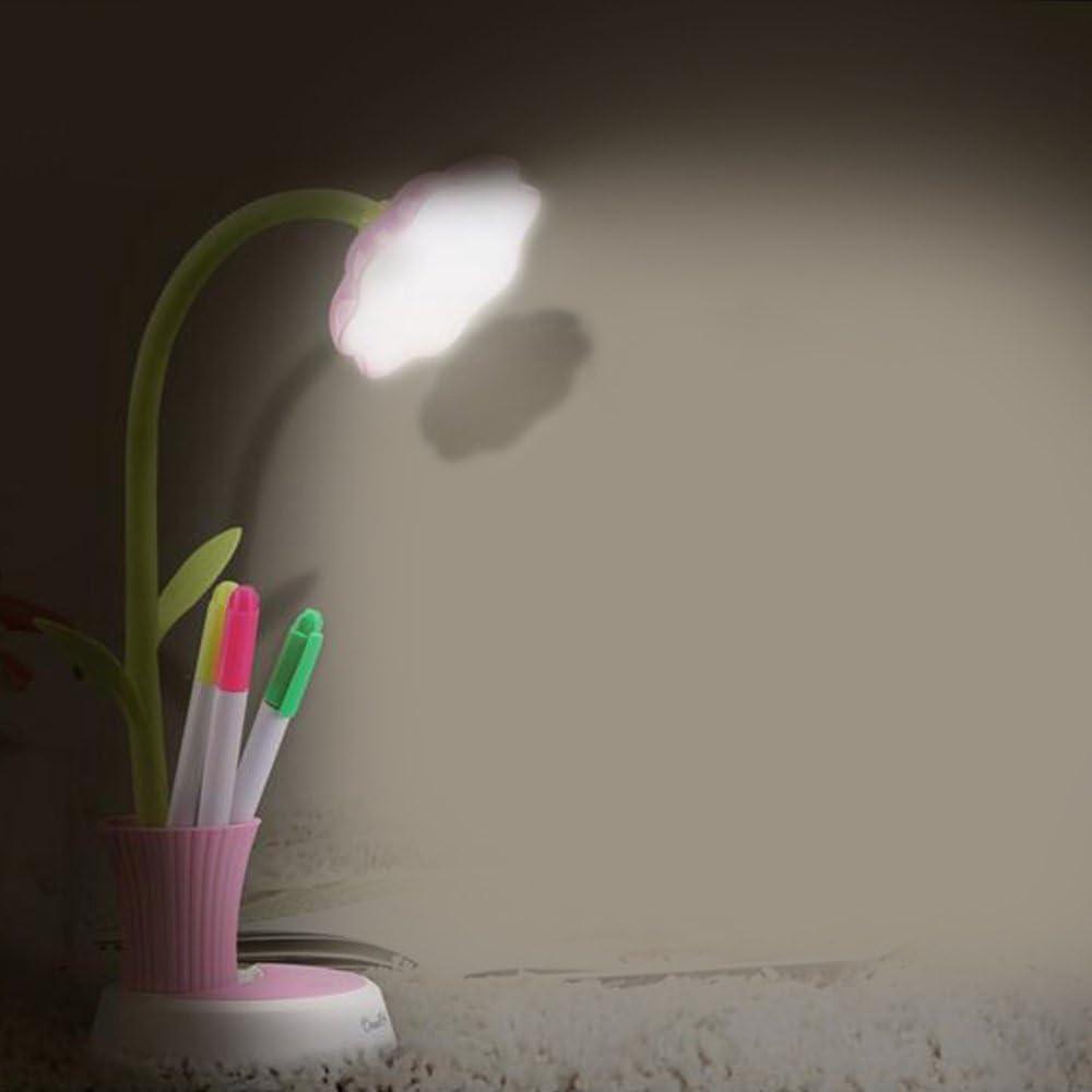 Kids Table Lamp LED Light Cuitan Flexible Dimmable USB Rechargeable Reading Studying Eye-Care Children Desk Lamp Touch Sensor Control Pen Holder Home Decor Bedside Light for Baby Boys Girls Green