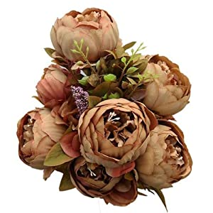 GSD2FF 13 Branch/Bouquet Artificial Flowers Peony Vivid Fake Silk Rose Bridal Wedding Decor Wreath Gland Home,Style 2 Coffee 46