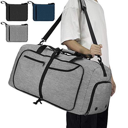 NEWHEY Reisetasche Groß 65L Faltbare Reisetaschen Leichte Sporttasche für männer mit Schuhfach für Weekender Herren Damen Duffel Taschen