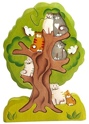 3D Wooden Jigsaw Puzzle - Cats on a Tree - Waldorf Stacking Handcarved and Hand-painted Toy - Natural Eco-friendly toys