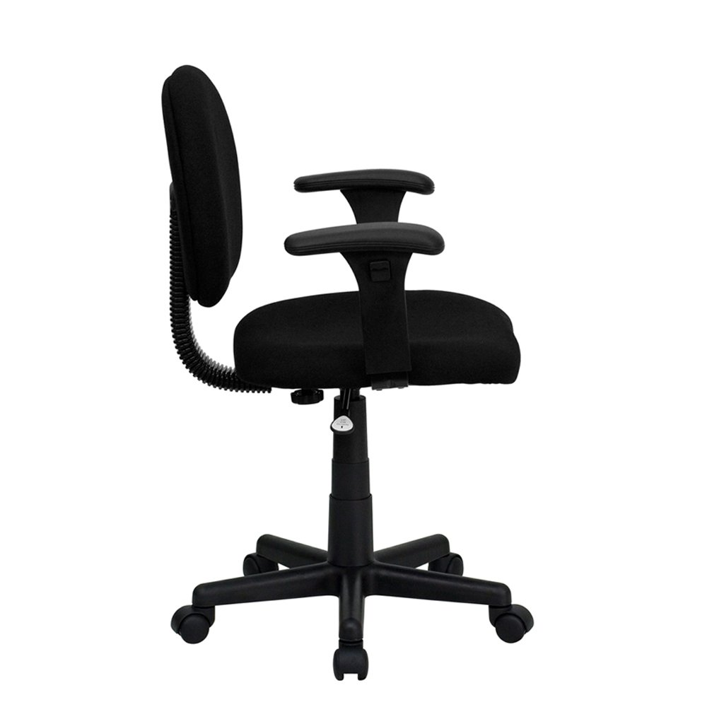 Office Chair With Adjustable Arms Amazoncom Flash Furniture Mid Back Black Fabric Swivel Task