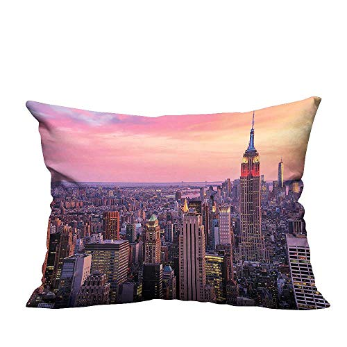 Ali Ro Silk - Home Decor Pillowcase York City Midtown Empire Build at Sunset Bus Center Ro top Peach Durable Polyester Fabric(Double-Sided Printing) 16x16 inch