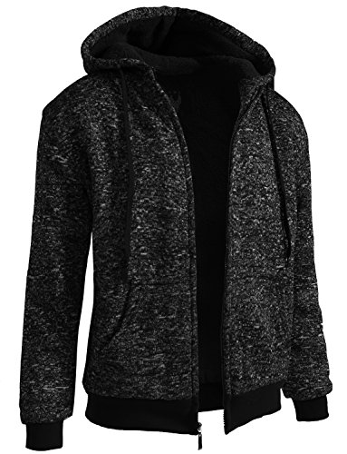 J. LOVNY Mens Basic Comfortable Sherpa Lined Zip Up Fleece Hoodie Jacket S-2XL by J. LOVNY
