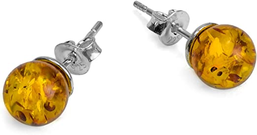 Long stud women earrings long natural baltic amber three mini balls earrings on silver 925 Multi color round frosted amber beads earrings