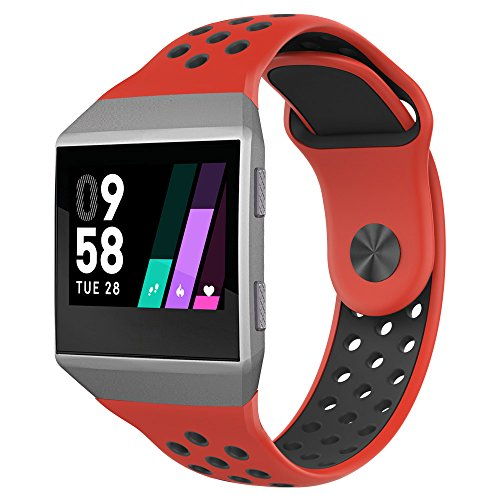 UMTELE Compatible for Fitbit Ionic Band, Two-Toned Perforated Strap Breathable Accessory Wristband with Quick Lock&Release Buckle Replacement for Fitbit Ionic Smart Watch, Small, Red/Black