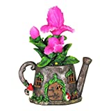 Mini Dollhouse FAIRY GARDEN Accessories - Solar Tea Kettle With Pink Flowers - Supplies Ac...
