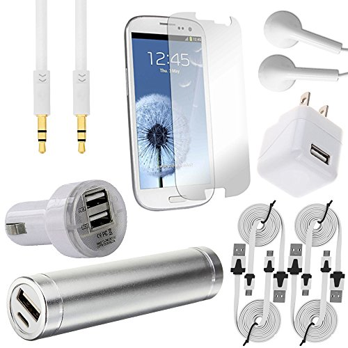 441 Wireless 10 Item Accessory Bundle for Samsung Galaxy S3 i9300 S 3, SIII, S III, (Alltel, AT & T, Boost Mobile, Cricket, Metro PCS, Net 10, Sprint, Straighttalk, T-Mobile, Tracfone, U.S.Cellular, Verizon, Virgin Mobile) Includes: 1200mah Power Bank, 3.1 Amp USB Car Charger, 1 Amp USB Rapid Wall Home Charger, 4x USB 3.0 Data Cables, HD Stereo In-Ear Headphones, 3.5mm Auxiliary Cord, and Screen Protector (10 Piece Kit - White)