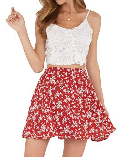Women's A-line Floral Print Mini Basic Skirts (Red, Medium)