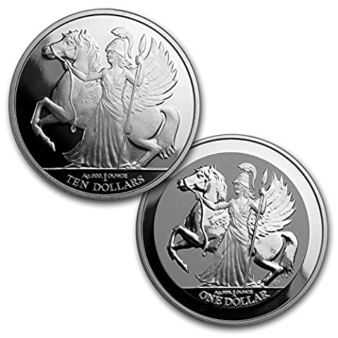 UK 2017 BVI 2-Coin Silver Pegasus Prf/Rev Prf Set (w/o Box) Brilliant Uncirculated - Silver Horse Coin Set