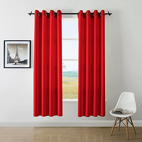 DWCN Red Curtain Faux Linen Country Modern Style Draperies 8 Grommets Window Curtain Panel 52x84 inch (set of 2 panels)Curtains for Bedroom/Kitchen/Dinning Room/Living (Halloween Decorations Made At Home)