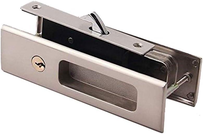 Silver LWZH 6.3 Sliding Barn Door Mortise Latch Lock Invisible Recessed Handle Latch with 3 Keys Interior Wood Pocket Door Lock Furniture Hardware