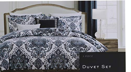 Nicole Miller King Duvet Cover Set Medallion 3 PC Blue Gray Black White Floral Bohemian Cotton Bedding