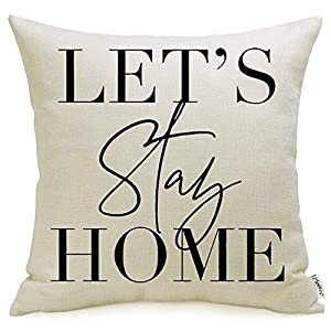 Meekio Farmhouse Pillow Covers with Let's Stay Home Quote 18″ x 18″ for Farmhouse Décor Housewarming Gifts New Home Gifts