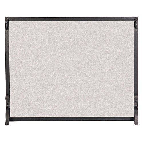 (Pilgrim Home and Hearth 18284 Forged Iron Single Panel Fireplace Screen, 39″W x 31″H, 22 lbs, Matte Black)