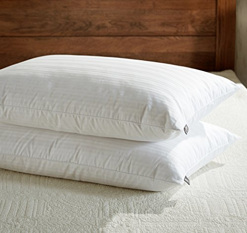 downluxe Dobby Stripe White Goose Feather Down Pillow, 100% Egyptian Cotton Bed Pillow, White, Set of 2 , Standard / Queen Size - Egyptian Cotton Stripes Bed Pillow