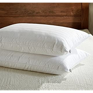 downluxe Goose Feather Down Pillow - Set of 2 Bed Pillows for Sleeping with Premium 100% Cotton Shell,King