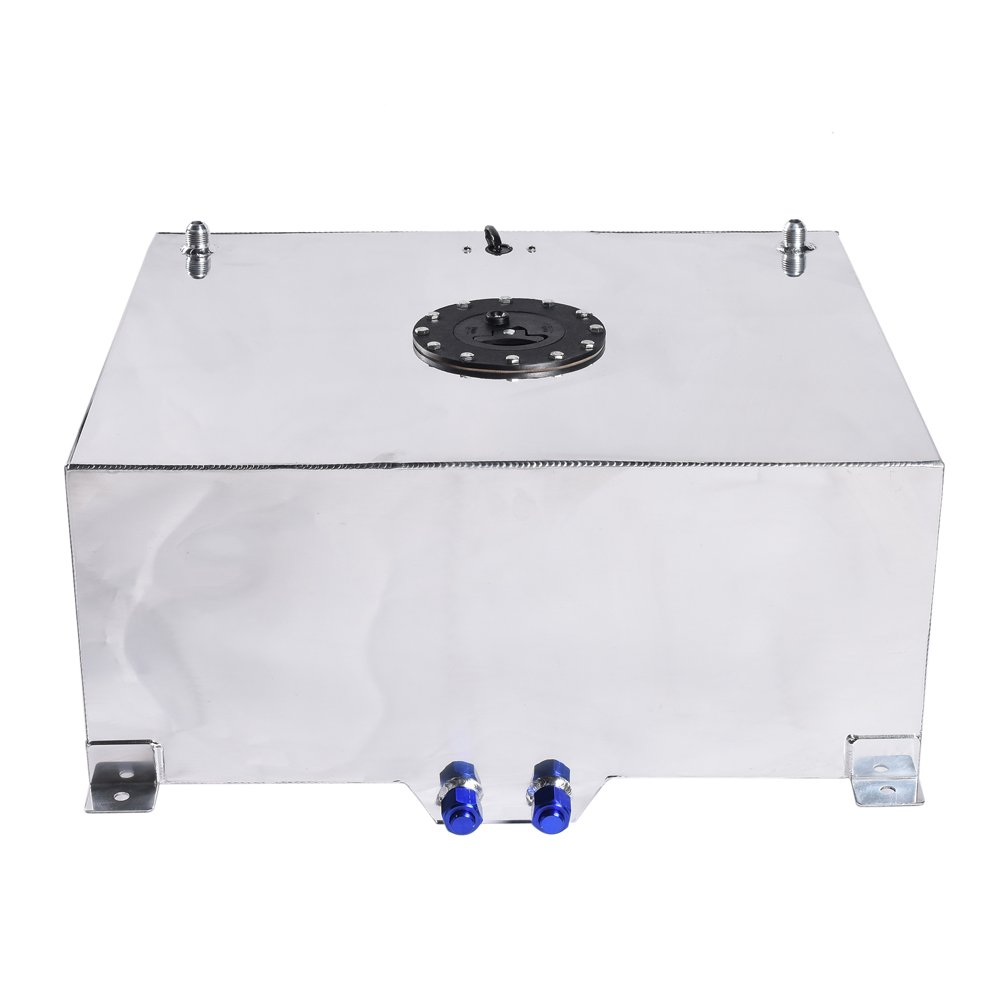 20-Gallon Universal Fuel Cell Gas Tank Aluminum Polished Racing Street Drift Strip Fuel Cell Tank with Level Sender Silver