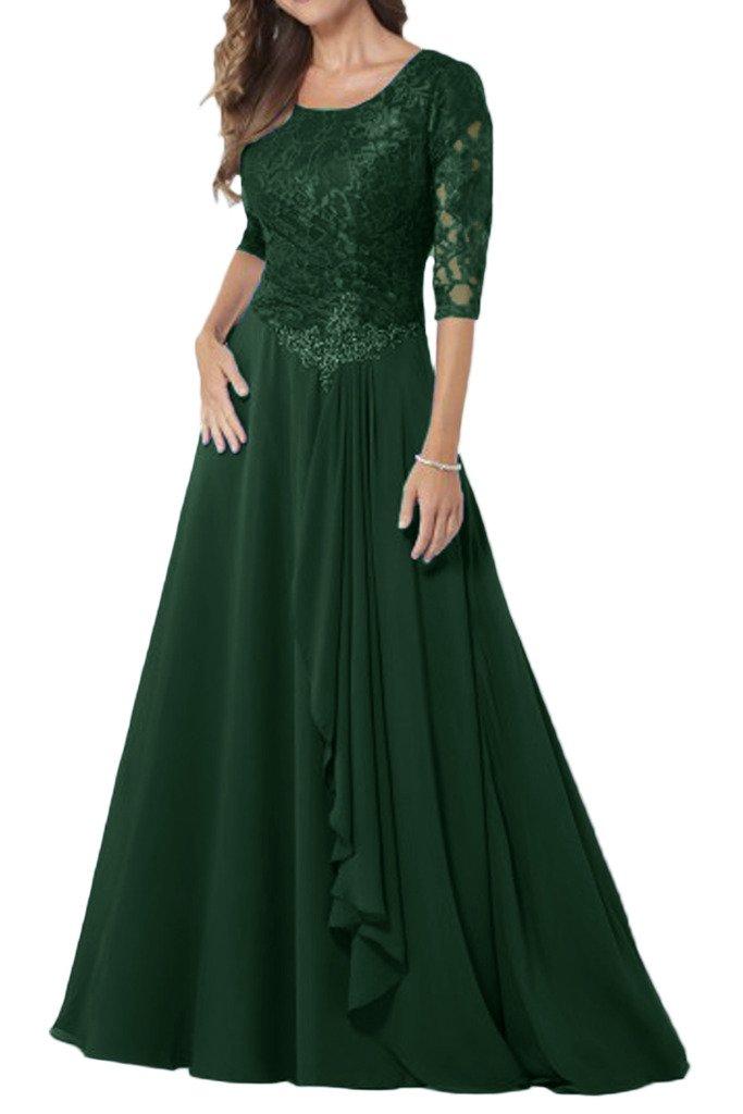 (ウィーン ブライド) Vienna Bride 披露宴用母親ドレス ロングドレス 結婚式母親用ドレス 半袖 レース フォーマルイブニングパーティー 8色 ウエディングパーティー B01E0RUA6W 19|ダーク緑 ダーク緑 19