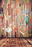 Laeacco Back to School Backdrops 5x7ft Vinyl Photography Background Hand Painted Pencils House Books on Vintage Retro Stripes Wood Floor Children Adult Parties Props
