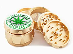 "Medical Marijuana Design Premium Grade Aluminum Tobacco,Herb Grinder -4Pcs Large (2.5"" Gold) # GLD-G022115-044"