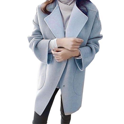 d94df8836dfa Mantel Kolylong Damen Elegant Einfarbig Wollmantel Lang Herbst Winter Warm  Revers Parka Outwear mit Taschen Umlegekragen