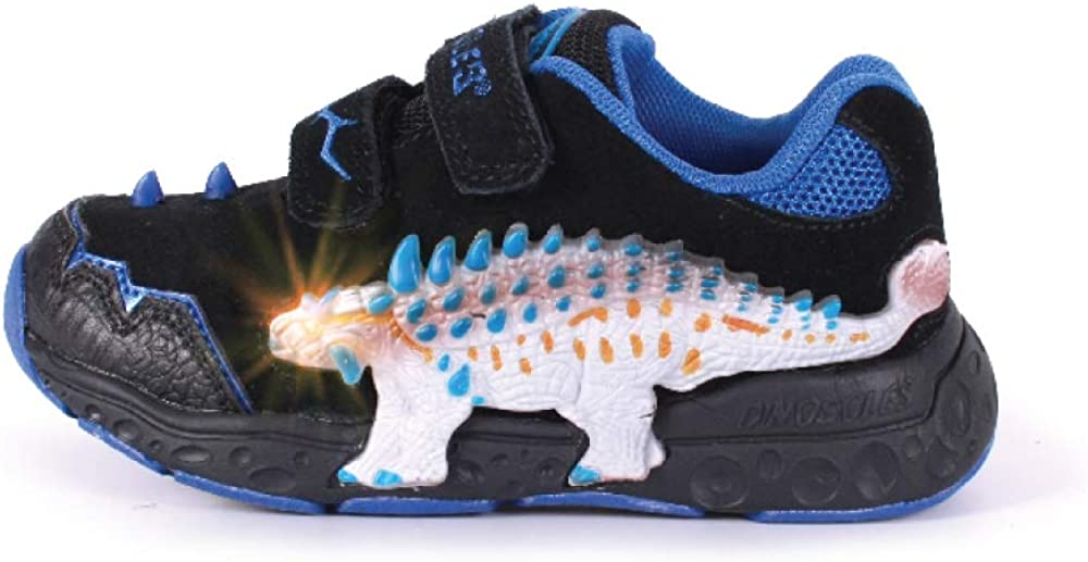 Dinosles 3D ANKYLO Flashing LED Low-TOP Shoes for Kids Children Boys Girls, Lightweight & Breathable Casual Running Sneakers Walking Shoes with Eye Blinking Dinosaurs, Black