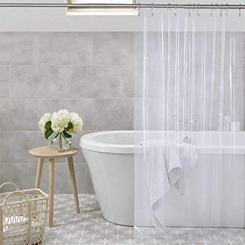 Shower Curtain Liner Transparent Mildew Resistant Anti-Bacterial PEVA, 72 x 72 Clear - Non Toxic, Eco-Friendly, No Chemical Odor, Rust Proof Grommets