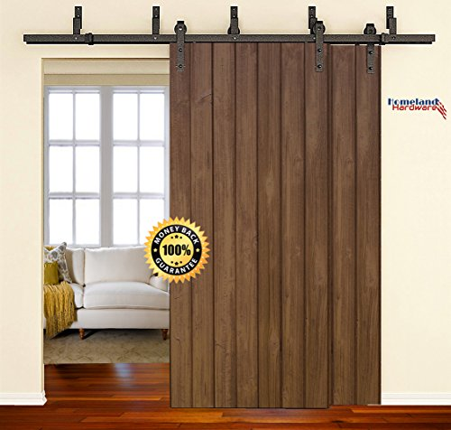 [SALE] 6.6 Foot Heavy Duty Bypass Sliding Barn Door Hardware Kit (Powder Coated Frosted Black) Includes Easy Step-By-Step Installation Video, Super Quiet, Ultimate Quality by Homeland Hardware by Homeland Hardware