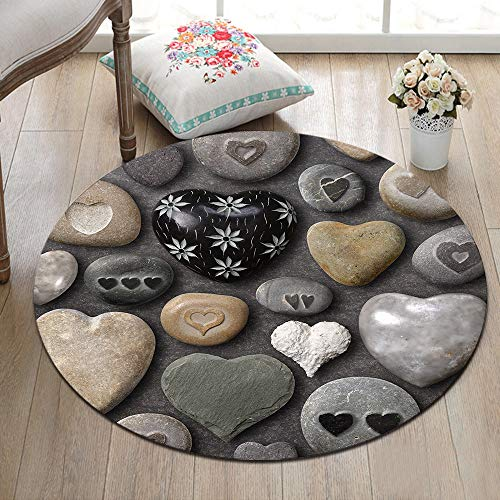 ETOB Black Grey Love Heart Shaped Stones Area Rugs Cobblestone Memory Foam Non-Slip Round Rug Washable Living Room Bedroom Carpet for Kids Playroom Play Mat Nursery Rugs, Dia.3'4''(100cm)