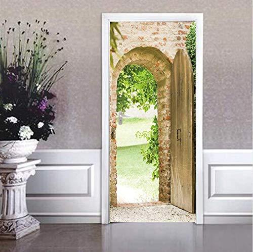 QiZhan541 Door stickerVintage Effect Arch Decal Door Sticker Waterproof Wall Stickers Wholesale Drop Shipping Living Room Home Decor 3D 77 200cm