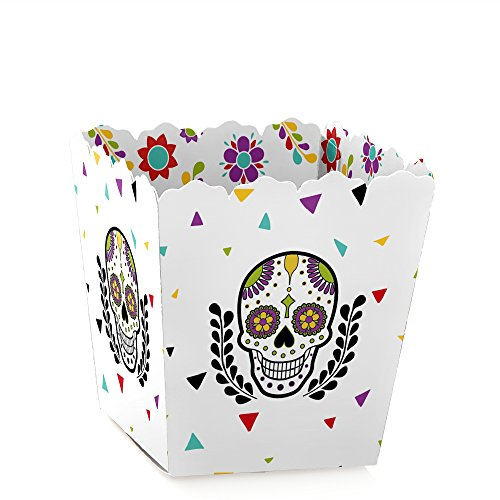 Day of The Dead - Party Mini Favor Boxes - Halloween Sugar Skull Party Treat Candy Boxes - Set of 12 -