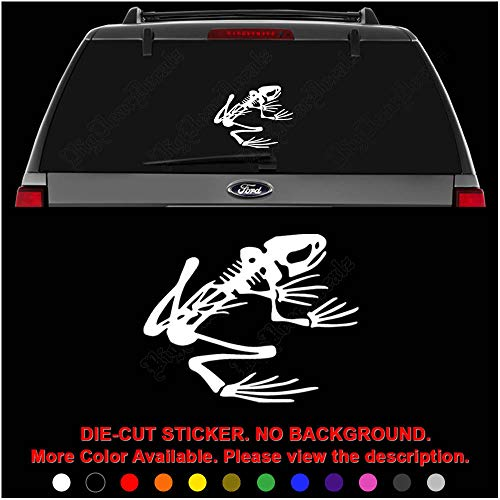 (Frog Skeleton Bones Die Cut Vinyl Decal Sticker for Car Truck Motorcycle Vehicle Window Bumper Wall Decor Laptop Helmet Size- [6 inch/15 cm] Wide || Color- Gloss White)