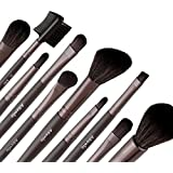 Allewie Makeup Brushes Set 10pcs Wooden Handle 1 Free Black Bag Professional Cosmetic Brushes for Eyeshadow , Foundation , Lip , Concealer , Powder and Other Makeup