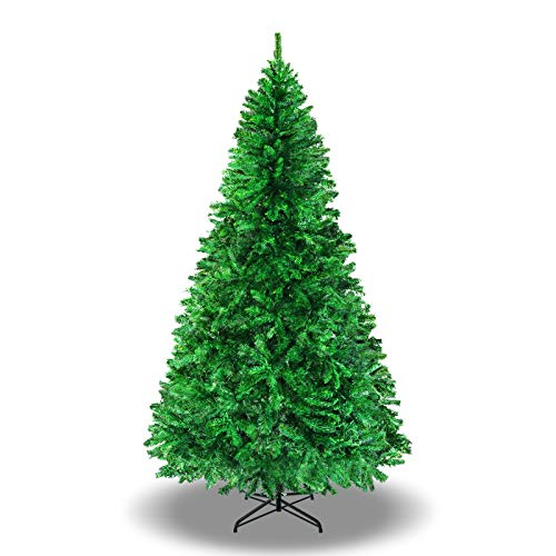 BenefitUSA 7' Green Classic Pine Christmas Tree Artificial Realistic Natural Branches-Unlit 210CM 1000 Tips with Metal Stand