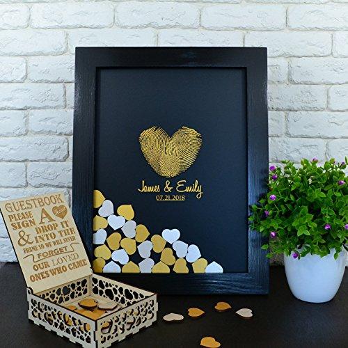 PotteLove Wedding Guest Book Alternative Heart Guestbook Drop Box Wooden Frame Guest Book