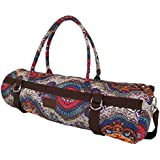 Yoga Mat Bag Carrier Patterned Canvas with Exterior Pocket and Zipper