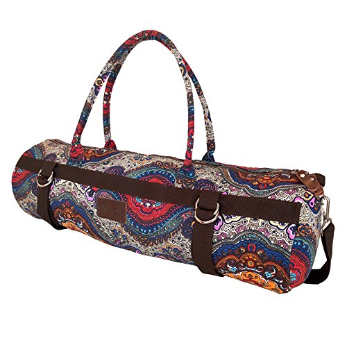 Yoga Mat Bags Carrier Patterned Canvas with Pocket and Zipper (Celestial)