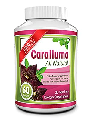 Pure Caralluma Fimbriata Extract - 1000mg Capsules - All Natural Appetite Suppressant & Energy Booster - Helps Reduce Waistline & Burn Fat - Take Charge of Your Health & Enhance Weight Loss Efforts
