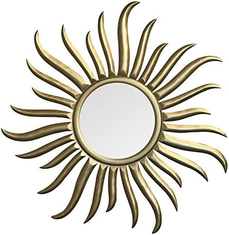 DecorShore Sunburst Gold Large Accent Mirror Hand Carved Wooden Framed Round Decorative Wall Mirror French Rococo Style Mirror for Wall Decor, Bedroom, Living Room Gold- 35