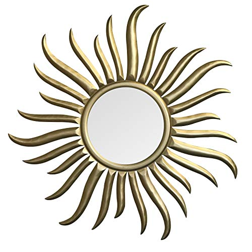 DecorShore Sunburst Gold Large Accent Mirror | Hand Carved Wooden Framed Round Decorative Wall Mirror | French Rococo Style Mirror for Wall Decor, Bedroom, Living Room | Gold- 35