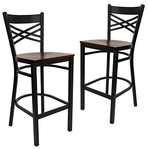 Flash Furniture 2 Pk. HERCULES Series Black ''X'' Back Metal Restaurant Barstool - Mahogany Wood (Steel 0.625' Point)