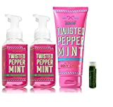 TWISTED PEPPERMINT Bath & Body Works 4 Piece Set of 2 Gentle Foaming Hand Soaps & 1 Ultra Shea Body Cream with a Jarosa Peppermint Lip Balm by Jarosa Gifts