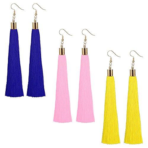 Tassel Dangle Threader Drop Earrings Ear Studs Ethnic Boho Hoops Women Linear Tribal Charms Jewelry 3 Pair Blue Pink Yellow