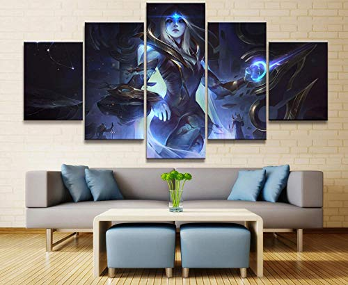 sansiwu k 5 Panel League of Legends Ashe Game Canvas Printed Painting for Living Room Wall Art Decor Hd Picture Artworks Poster