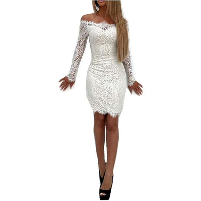 Amazon.com: Supo-Dre Women Elegant Vintage Sweet Lace Dress Stylish Sexy Slash Neck Casual Slim Beach Summer Vestidos: Clothing