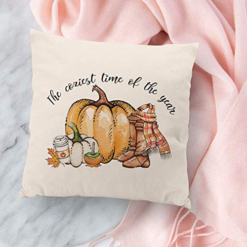 High quality Fall Pillow Cover - Fall Decor - The Coziest Time of the Year - Pumpkins Flannel Boots Pumpkin Spice Throw Pillow]()