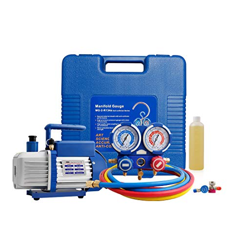 VIVOHOME 110V 3.5 CFM Single Stage Rotary Vane Air Vacuum Pump and Manifold Gauge Set Kit for HVAC Air Conditioning Refrigeration Recharging -