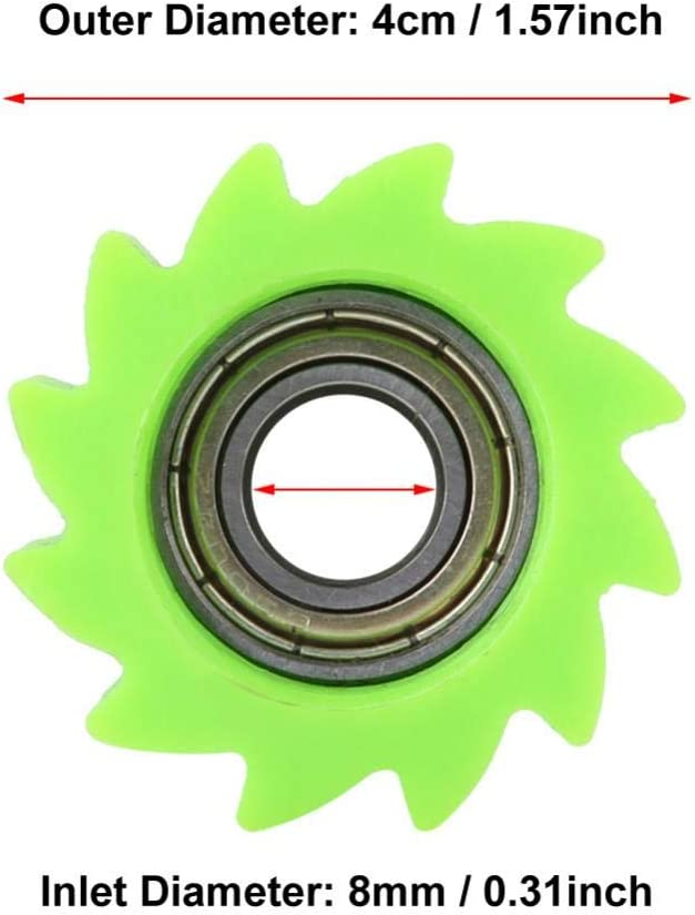 Green Keenso 8mm Motorcycle Chain Roller Tensioner Pulley Wheel Sprocket Guide for Kawasaki KX250F KX450F Bike 2006-2016