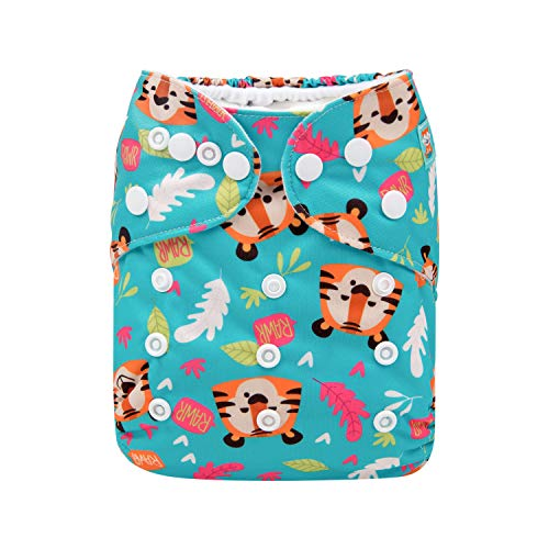 ALVABABY Cloth Diapers One Size Adjustable Washable Reusable One Pocket Nappy for Baby Girls and Boys with 2 Inserts H165