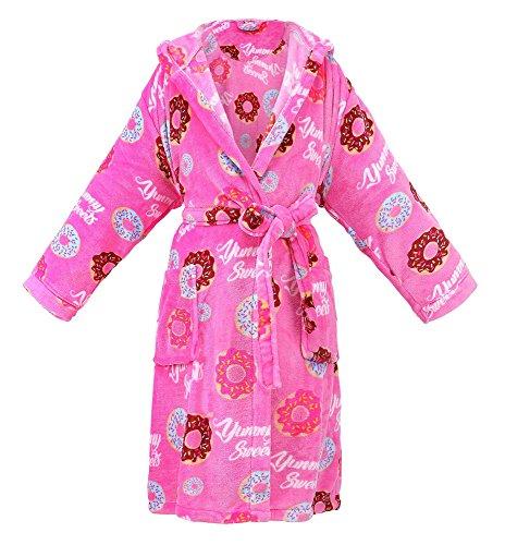 Women's Hooded Printed Flannel Fleece Bathrobe Robe w/ Side Pockets,Donuts,Short (Printed Flannel)